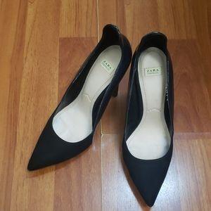 Zara Trafluc Black Navy Heel Size 8/38